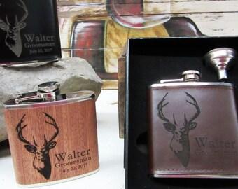 Set of 6, Groomsmen Flask, Groomsman Flask Box Set, Groomsmen Gift Flask Set - Wedding Party Gift Set - Best Groomsmen Gift Ideas