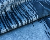 Abstract Upholstery Fabric Blue Velvet Fabric Highland Court Fabrics 190226H Baum Indigo Mushroom  17 x 17 inches  + Free Samples