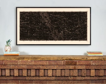 Star Map Print, Constellations Chart Print, Antique Large Horizontal Art Print, Masculine Home Decor, Star Chart Print, Library Art, Den