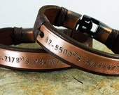 Couple Bracelet. Personalized Hand Stamped Bracelet, Men Gift, Men Leather Bracelet, Love Bracelet. valentine' gift
