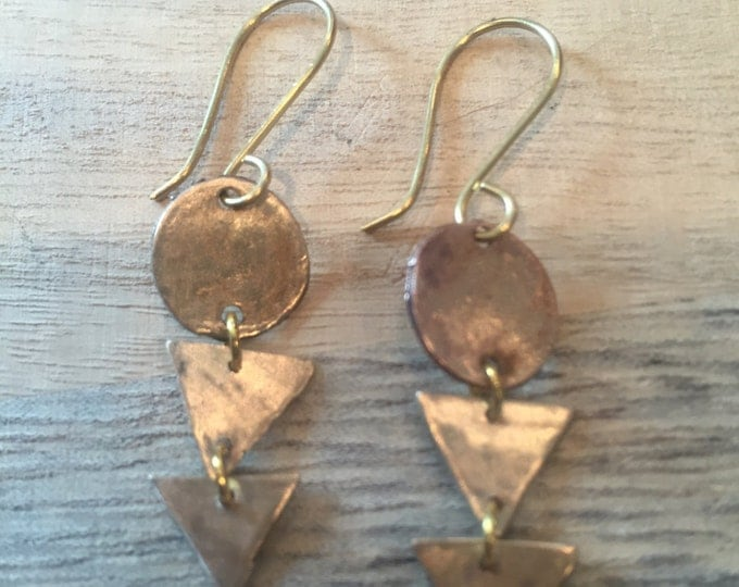 Triangles Earrings, Geometric Earrings, circles and triangle earrings, dangle earrings, gold dangle earrings, shapes earrings, brushed gold