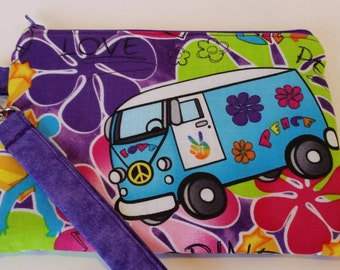 Peace and Love crossbody bag, wristlet or zipper pouch