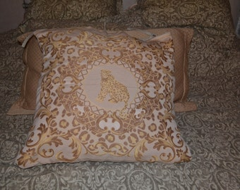 Authentic VERSACE Silk Fabric Leopard Pillow Cover Case Gold Beige 20 x 20 NEW