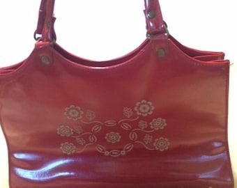 Vintage Red Floral Handbag Purse Vinyl