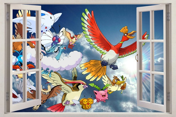 sky pokemon 3d window view decal wall sticker art by printadream. Black Bedroom Furniture Sets. Home Design Ideas