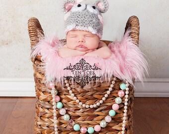 Crochet Baby Hippo Hat Photo Prop/Newborn Photography Prop/Baby Shower Gift/Infant Halloween Costume