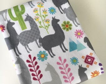 Minky Baby Blanket with Grey Llama Print Gender Neutral