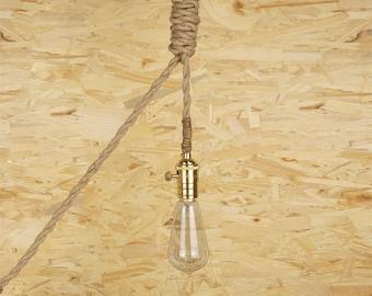 Thin Rope Edison lamp - E27 - edison bulb hanging Light - copper ceiling lamp - edison bulb - industrial lighting - rustic rope