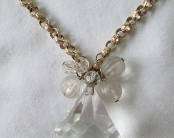 Vintage Gold Tone Chain Crystal Drop Necklace