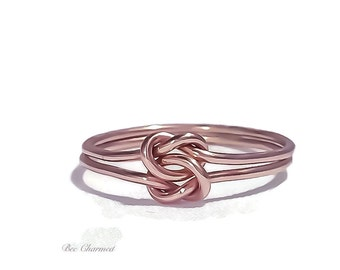 Rose gold promise ring, Double knot ring, love knot ring, bridesmaid gift, gift