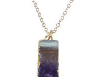 Amethyst Slice Necklace - Geode Druzy Crystal - Long Layering Necklace - FJGC07
