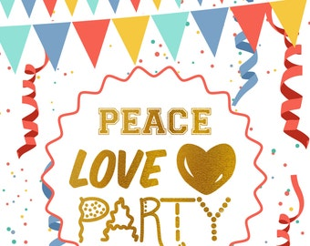 Notebook Cover-Peace Love Party