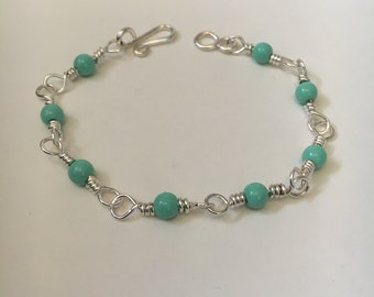 Silver Plated Wire Beaded Bracelet