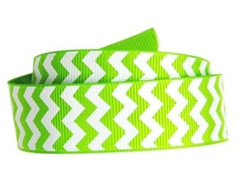 "1-1/2"" Apple Green Chevron Print Grosgrain Ribbon 1-1/2"" x 1 yard"