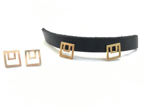 Mini Nested Square Stud Earrings