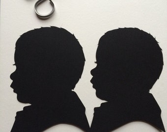 Two Custom Hand Cut Silhouette Portraits Backing on Custom Silhouette 8 by 10 / Custom Silhouette 8x10