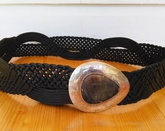"VTG  Woven Leather Women's Belt Teardrop Etched Antler Silver Buckle 38"" Handmade"