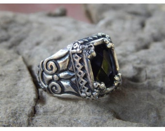 Silver ring bali carving with Black Onyx Checkerboard 58803