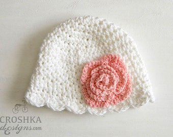 Handmade crochet baby hat with a beautiful open rose flower, Miriam design, winter baby hat, baby hat, Made to order, photography pr