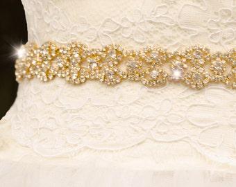 Gold Rhinestone Sash, Gold Belt, Thin Belt, Thin Sash, Gold Bridal Belt, Bling Gold Wedding Sash, Bling Belt, Unique Sash- DEIRDRE
