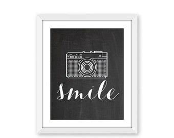 70% OFF THRU 2/13 Smile, Chalkboard Printable Art Print, Camera Printable, Instant Download, Fun Retro Inspirational Art, Smile Print, 8x10