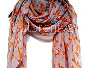Fox Light Grey Autumn / Spring Summer Scarf / Gift For Her / Women Scarves / Fashion Accessories