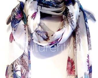 Multi Colour Chrysanthemum Flower White Scarf / Gift For Her / Women Scarves / Fashion Accessories
