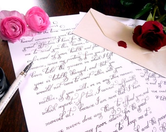 """Perfect Gift - Custom calligraphy love letter, handwritten, calligraphy hand lettered wedding vows - Wedding vows calligraphy 9.7""""x13.6"""""""