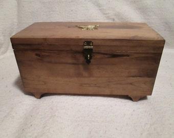 Small wooden treasure chest.