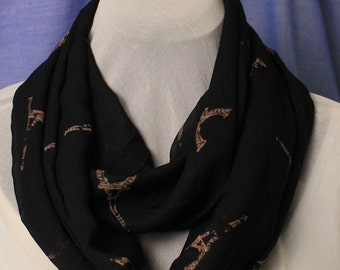 Infinity Scarf, Black Chiffon with Eiffel Tower Print