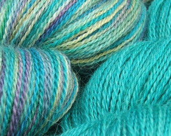 Handpainted Lace Weight hand dyed Turquoise and 'Jewel' Alpaca / Mulberry Silk Knitting Yarn shawl yarn