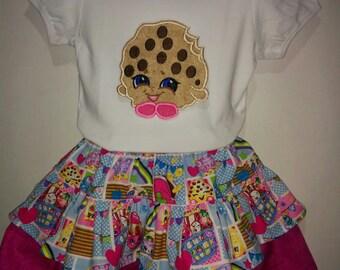 Girls Shopkins Shopkin Kookie Cookie Boutique Birthday Skirt Set Outfit! Twirly Skirt! Embroidered Applique Shirt! Happy Shopper Shoppies