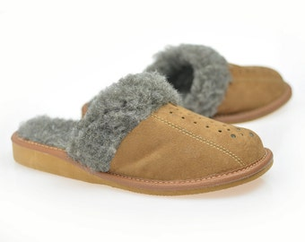 SALE !!! Women's Natural Genuine Leather , wool, SLIPPERS, shoes boots Very light and comfy! Good gift! Natural