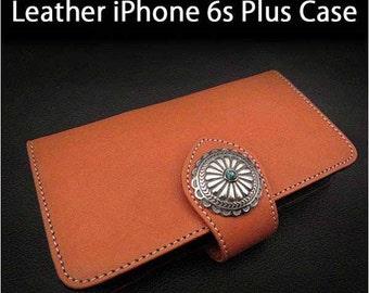 Leather iPhone Case 6s Plus Orange Colour K01E10