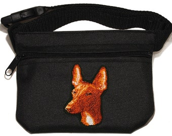 Embroidered dog treat waist bag. Breed - Pharaoh Hound. For dog shows and training. Great gift for breed lovers.