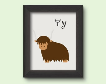 Alphabet Art Print - Y for Yak - INSTANT DOWNLOAD
