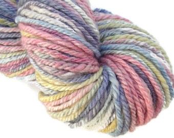 Hand  dyed and hand spun bulky yarn, 100 yards, handspun, handdyed yarn