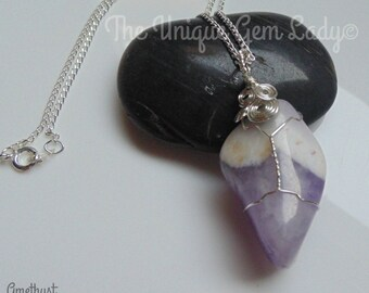 Amethyst Tumblestone Wire Wrapped Necklace ~ Gemstone Crystal Healing ~ Hand Crafted Ooak