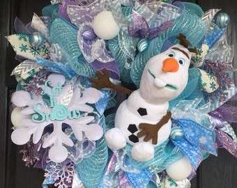 Olaf deco mesh wreath, Birthday Deco Mesh Wreath, Holiday Wreath, Winter mesh wreath,  Frozen Wreath, Olaf wreath, deco mesh wreath,