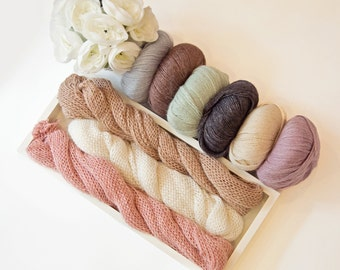 Knit stretch wrap Newborn Baby Boy Girl Photo prop Alpaca Wool