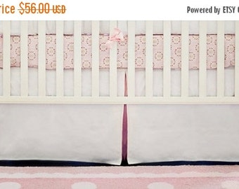 """30% OFF Tailored 17"""" Crib Skirt White Pique with Pink Pleat for Girls"""