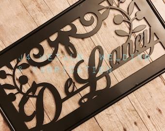 Ornate Scroll Family Name Sign for Garden or Yard