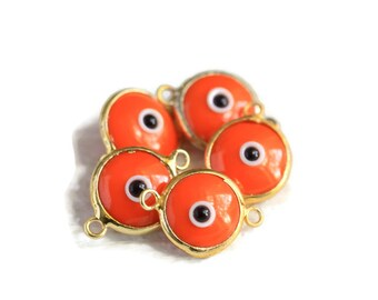 Evil Eye Charm, Glass, Vermillion Evil Eye Gold 2 Loops Connector, 5 Pieces  Luster, 24K Gold Plated Charm  - EE051