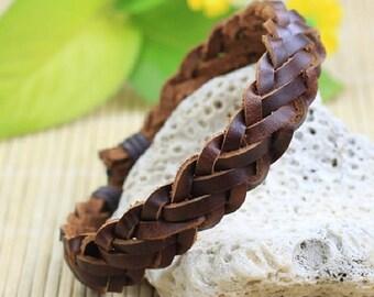 Brown Leather Braided Bracelet Handmade Men Women Braclet BST-167