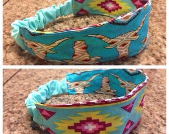 Adult  blue bull/aztec reversible fabric headband/hairband/hair accessory