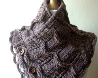 SUMMER SALE 50%OFF Taupe Brown Merino Wool Hand Knitted Scarf, Knit scarf wrap Brown Scarf, Shawl, Wrap, Neckwarmer, Brown knit scarf, women