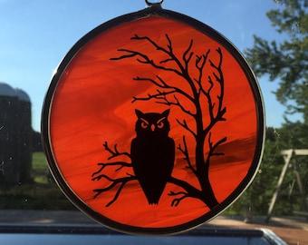Handmade Stained Glass Full Moon/Owl Scene Suncatcher