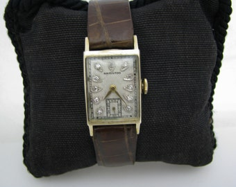Vintage 14k Yellow Gold - Hamilton Watch with Diamonds from the 1940's