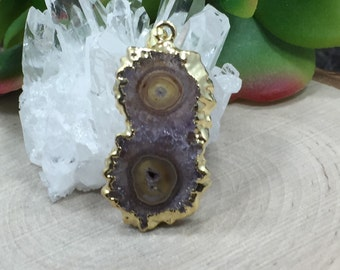 Stalactite Pendant, Druzy Pendant, Amethyst Pendant, 24 Karat Gold, Only One Piece of Each Available, PG2606K
