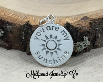 You Are My Sunshine Charm, Sunshine Charm, You Are My Sunshine, Sun Charm, Sterling Silver Charm, PS01448